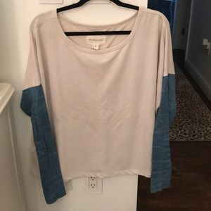 BCBGeneration Sweater with Denim Sleeves